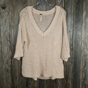 Free People Beige Cream V-Neck Sweater Top XS S